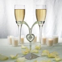 Stemless Champagne Glasses with Silver Plated Stand