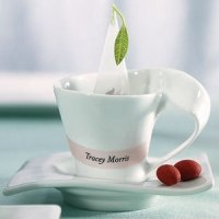 White Porcelain Cup And Saucer Favors Set Of 4