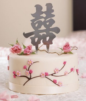 Script Asian Double Happiness Cake Top in Brushed Silver image