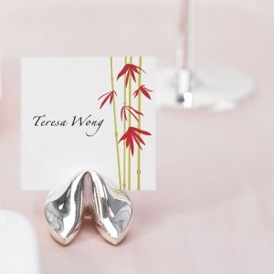 Silver Fortune Cookie Place card Holders (Set of 8) image