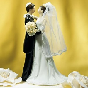 Traditional Jewish Bride & Groom Couple Cake Topper image