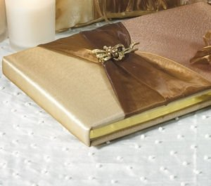Elegant Bronze Traditional Gold Wedding Guest Book image