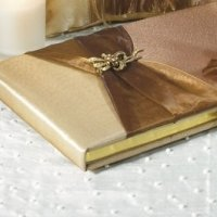 Elegant Bronze Traditional Gold Wedding Guest Book