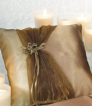 Elegant Bronze Gold Ring Bearer Pillow image