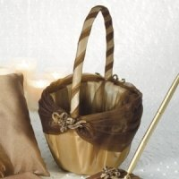 Elegant Bronze Gold Flower Girl Basket