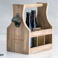 Personalized Brewery Co. Wood Bottle Caddy with Opener