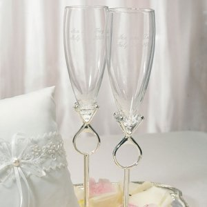 'Diamond' Ring Unique Toasting Flutes image