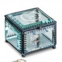 Vintage Inspired Modern Monogram Glass Jewelry Box