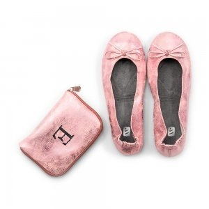 Foldable Flats Pink Pocket Shoes image