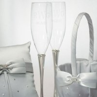 Band of Crystals Wedding Toasting Flutes