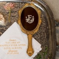 Personalized Gold Looking Glass Trinket Holder