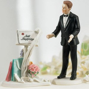 Still Shopping' Sign & Surprised Groom Comical Cake Topper image