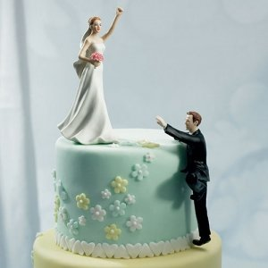 Victorious Bride & Climbing Groom Mix and Match Cake Topper image