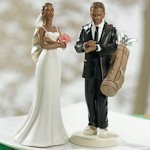 Exasperated Bride & Golfer Groom Wedding Cake Topper