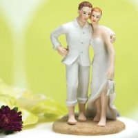 Barefoot Couple Beach Wedding Cake Topper