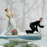Fishing Bride & Caught Groom Mix and Match Cake Topper