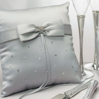 Platinum and Crystals Silver Ring Bearer Pillow