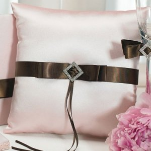 Strawberry Pink & Chocolate Ring Bearer Pillow image
