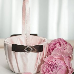 Strawberry Pink and Chocolate Flower Girl Basket image