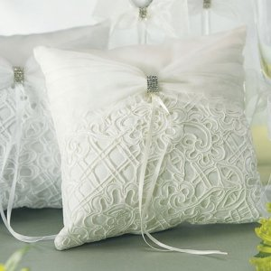 Embroidered Bridal Tapestry Ring Bearer Pillows (2 Colors) image