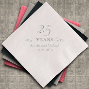 Personalized 25th Anniversary Napkins (25 Colors) image