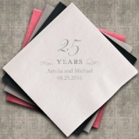 Personalized 25th Anniversary Napkins (25 Colors)
