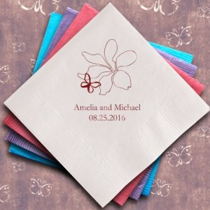 Butterfly Garden Personalized Napkins (25 Colors) image