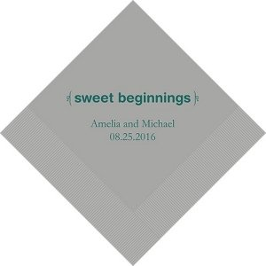 Sweet Beginnings Personalized Napkins (25 Colors) image