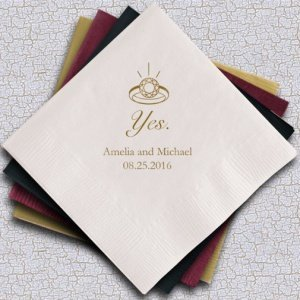 Yes (to the ring) Personalized Napkins (25 Colors) image