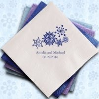 Winter Snowflake Personalized Napkins (25 Colors)