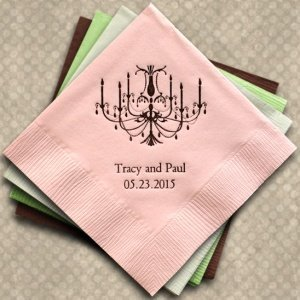 Elegant Chandelier Personalized Napkins (25 Colors) image
