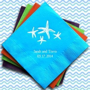 Personalized Starfish Wedding Napkins (25 Colors) image