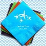 Personalized Starfish Wedding Napkins (25 Colors)