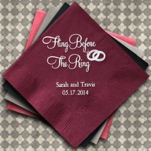 Fling Before the Ring Personalized Napkins (25 Colors) image