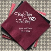 Fling Before the Ring Personalized Napkins (25 Colors)