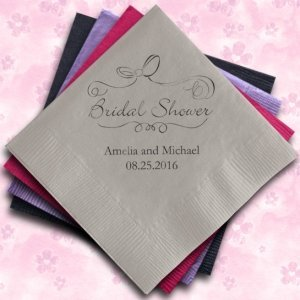 Bridal Shower Personalized Napkins (25 Colors) image