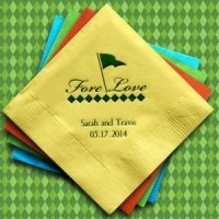 Fore Love Golf Design Personalized Napkins (25 Colors)