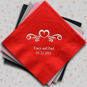 Heart Swirl Customized Napkins for Weddings (25 Colors) image