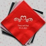 Heart Swirl Customized Napkins for Weddings (25 Colors)