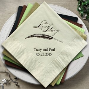 Love Story Personalized Napkins (25 Colors) image
