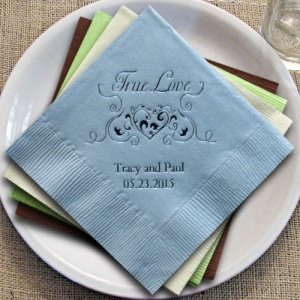 True Love Heart Filigree Personalized Napkins (25 Colors) image