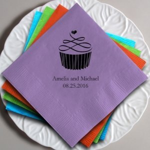 Topped with Love Personalized Cupcake Napkins (25 Colors) image