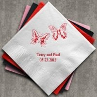 Beautiful Butterflies Personalized Napkins (25 Colors)