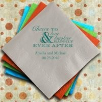 Cheer Personalized Napkins for Wedding Receptions