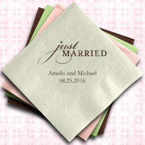 Just Married Custom Wedding Napkins (25 Colors) image