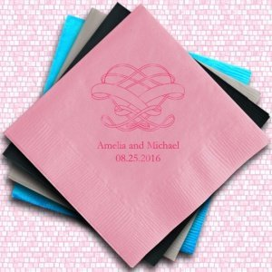 Infinite Heart Design Personalized Napkins (25 Colors) image
