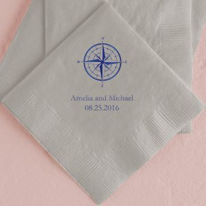 Vintage Travel Compass Personalized Wedding Napkins image