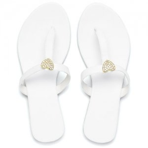 White T-Strap Sandal with Crystal Heart image