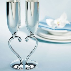 Interlocking Heart to Heart Silver Wedding Goblets image