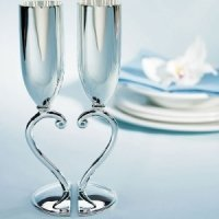 Interlocking Heart to Heart Silver Wedding Goblets